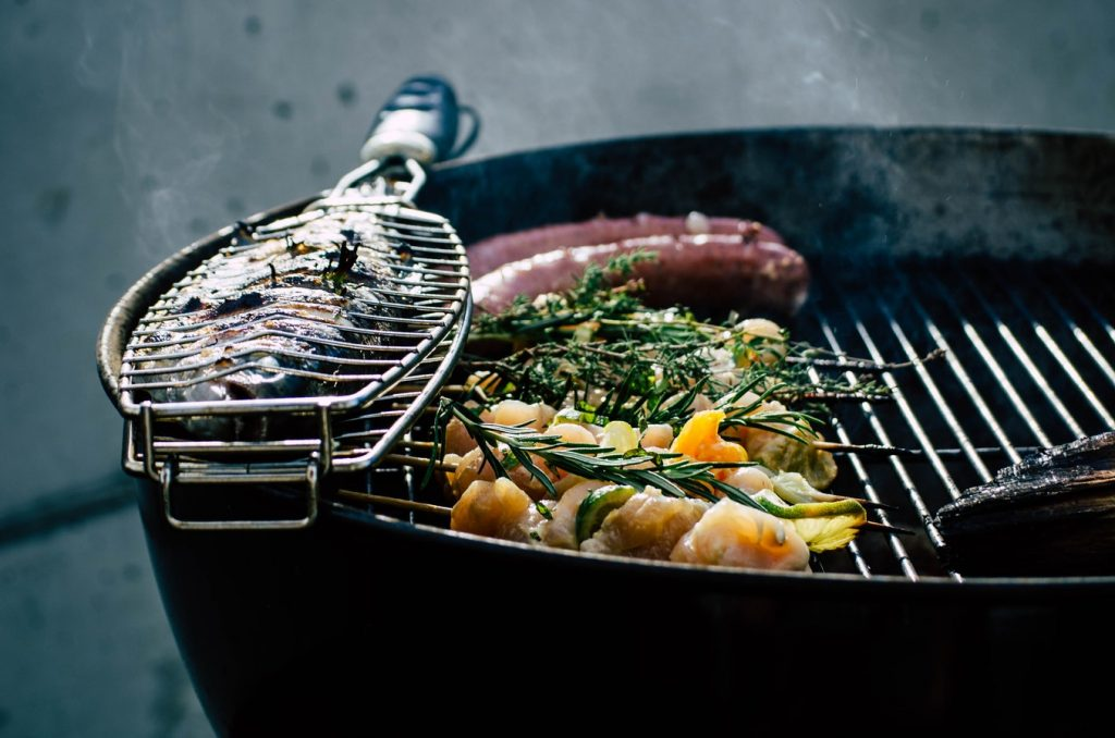 Fish kebab on grill